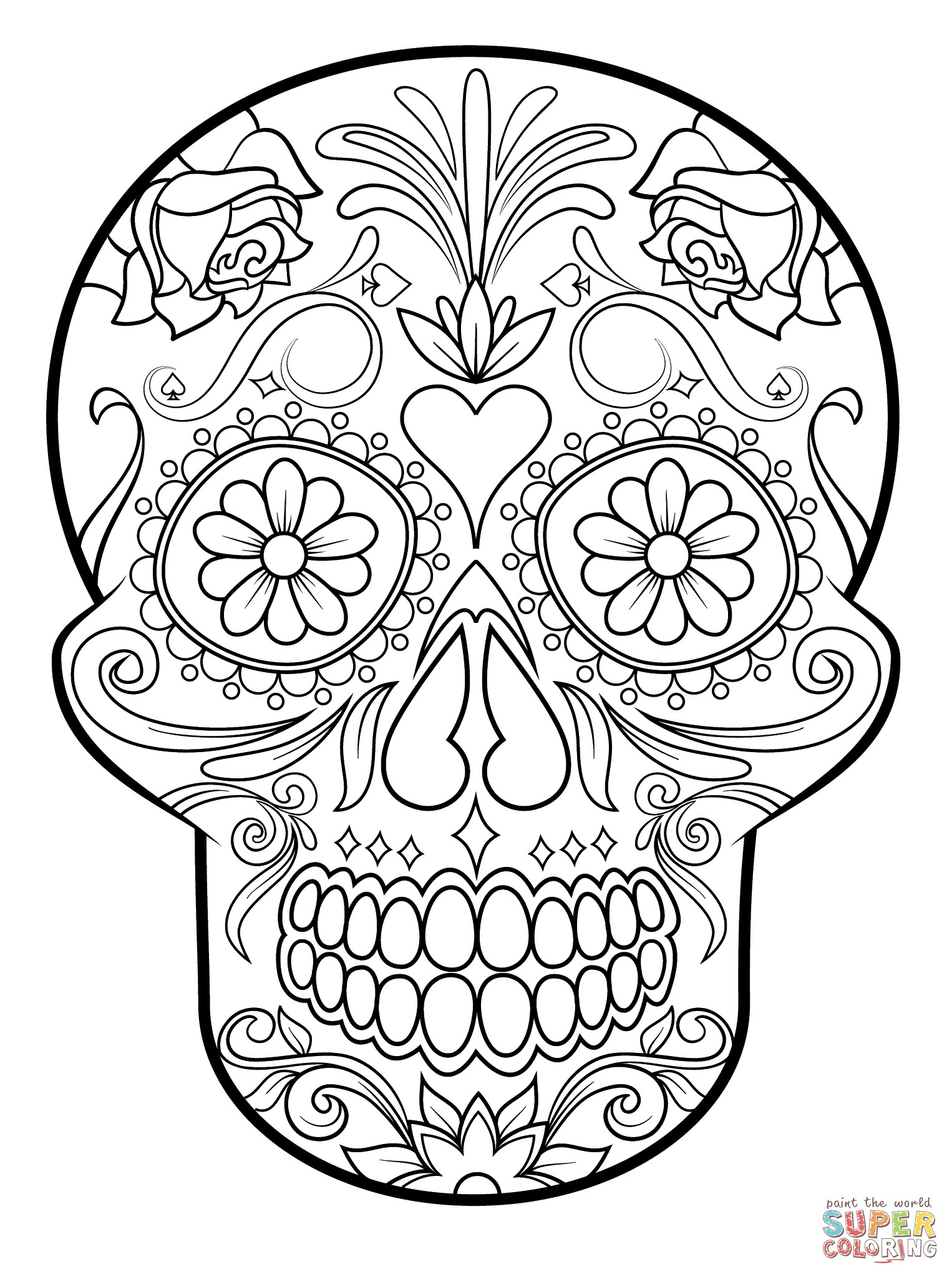 - Adult Free Coloring Pages Pleasant Idea Sugar Skull Printable