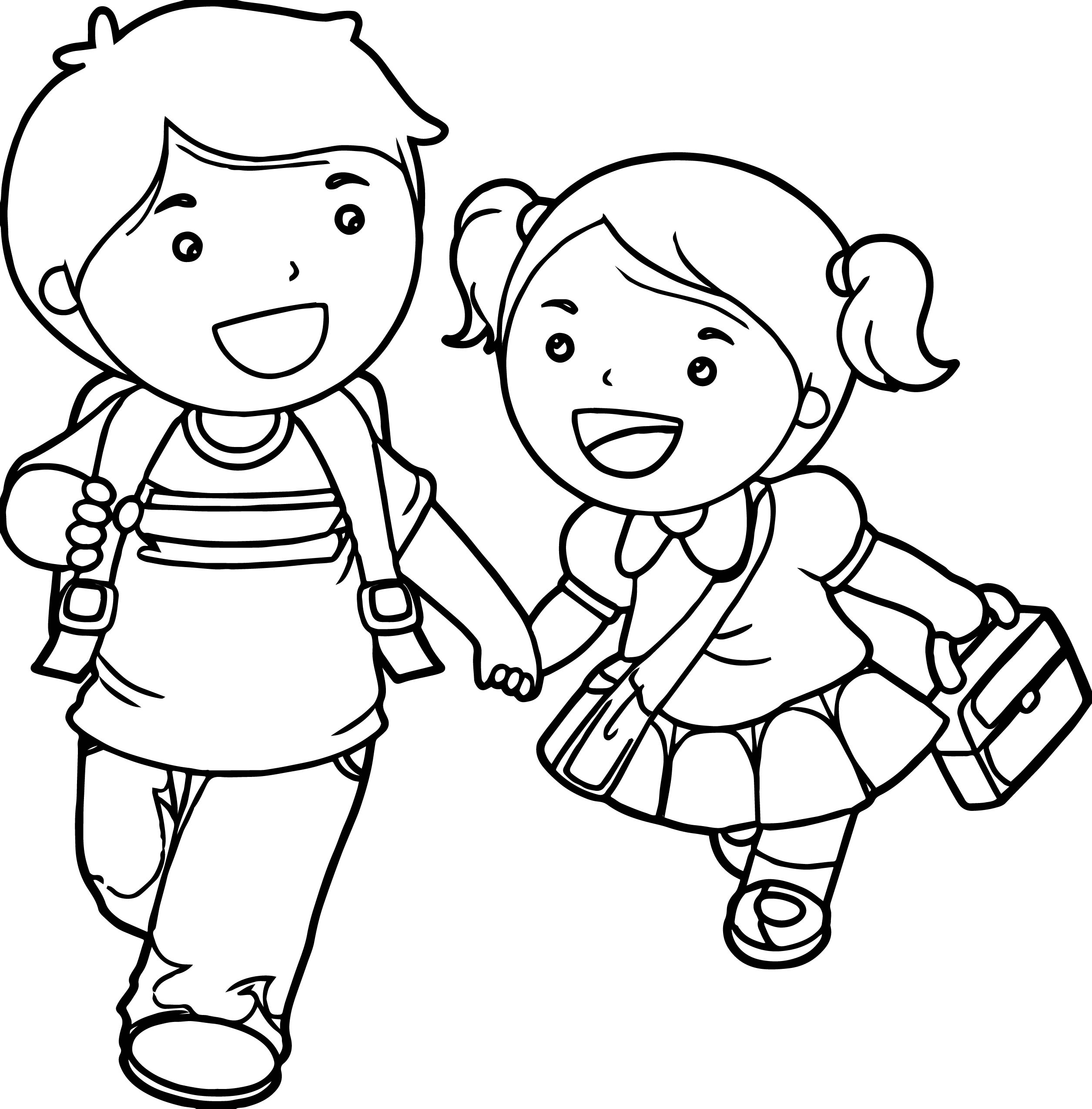 Boy And Girl Coloring Pages Boy And Girl Lets Go School Coloring Page Wecoloringpage Birijus Com