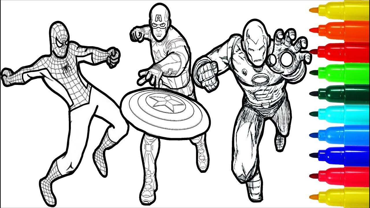 Captain America Coloring Page Spiderman Iron Man Captain America ...