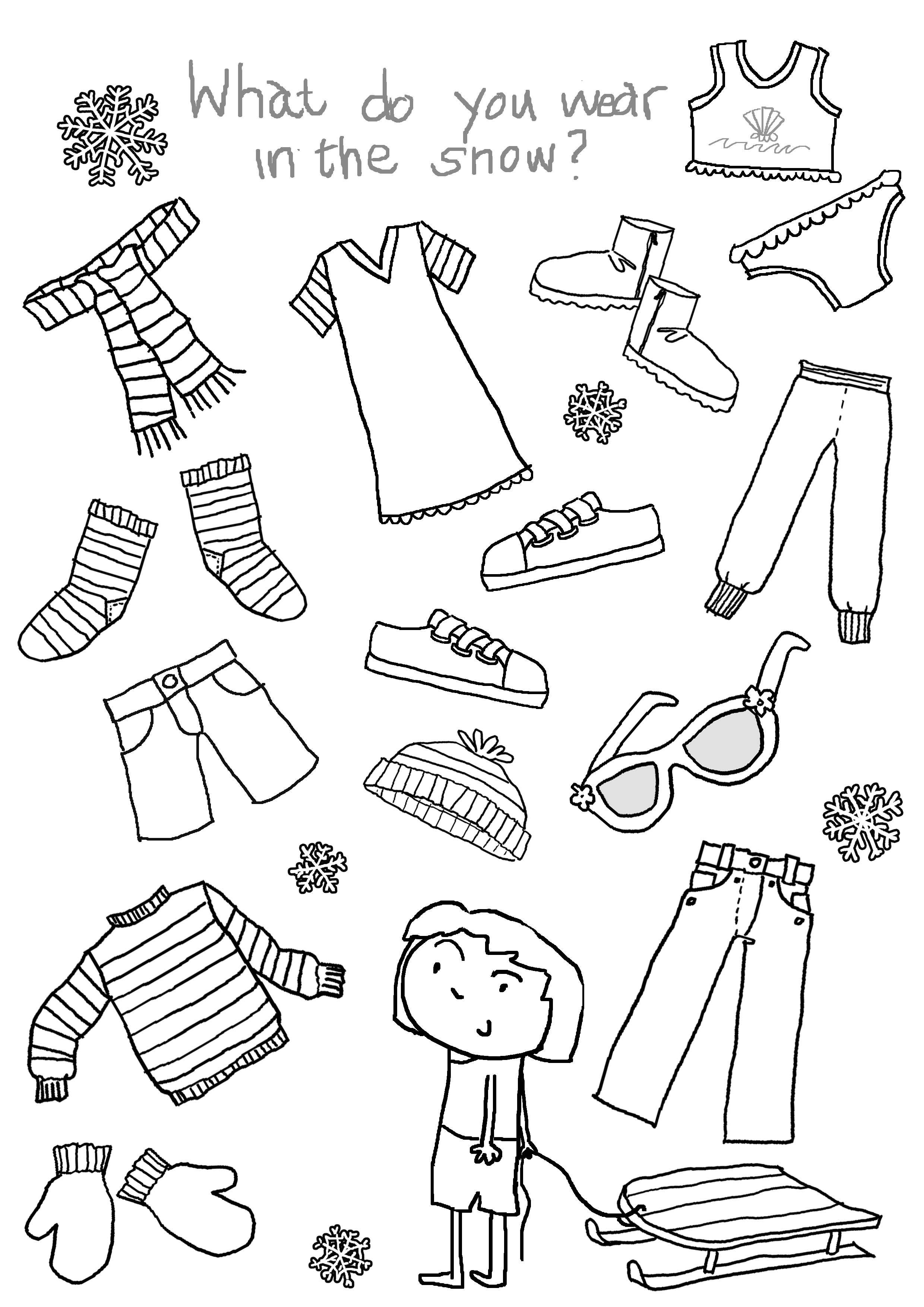 Clothes Coloring Pages Winter Clothes Coloring Pages For ...