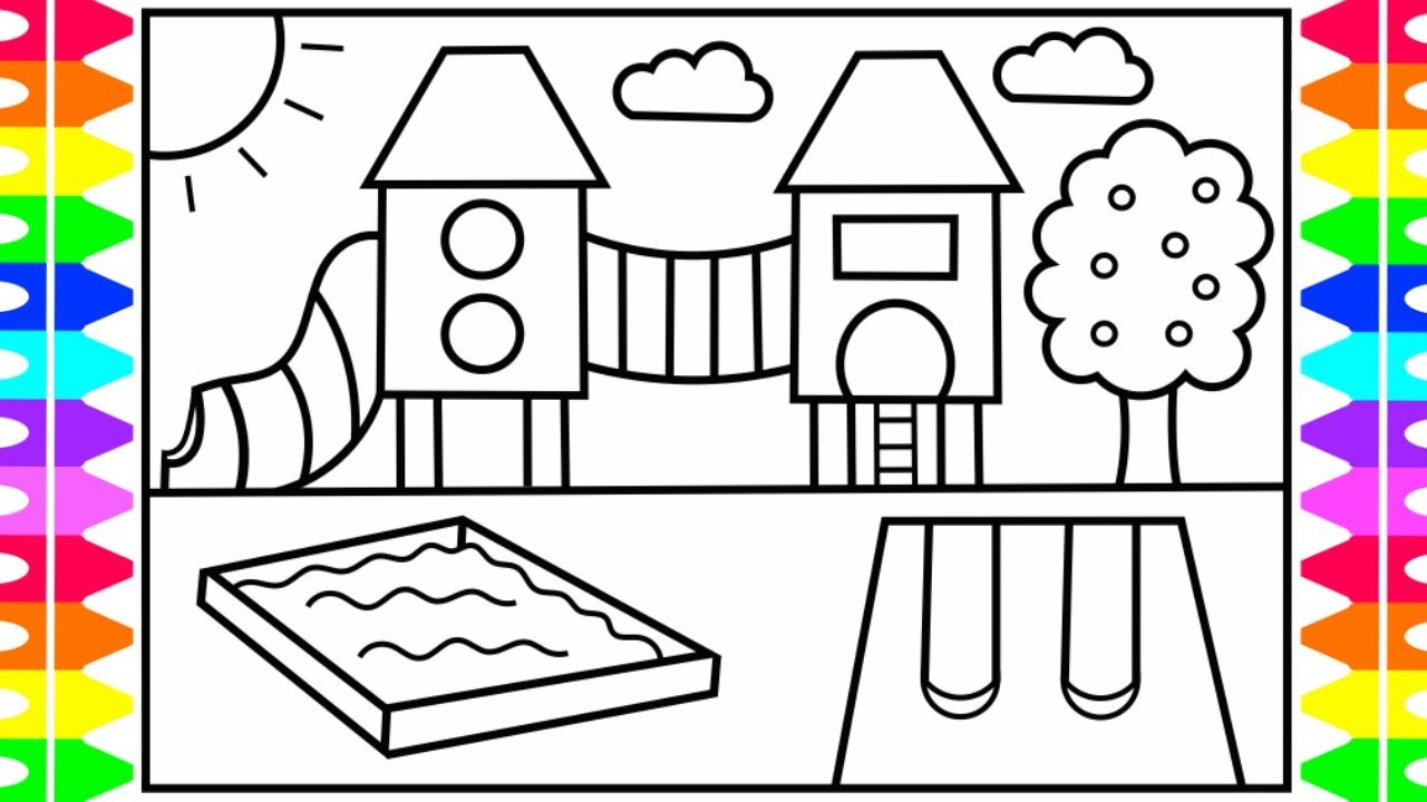 - Coloring Pages For Kids How To Draw A Playground Step Step For