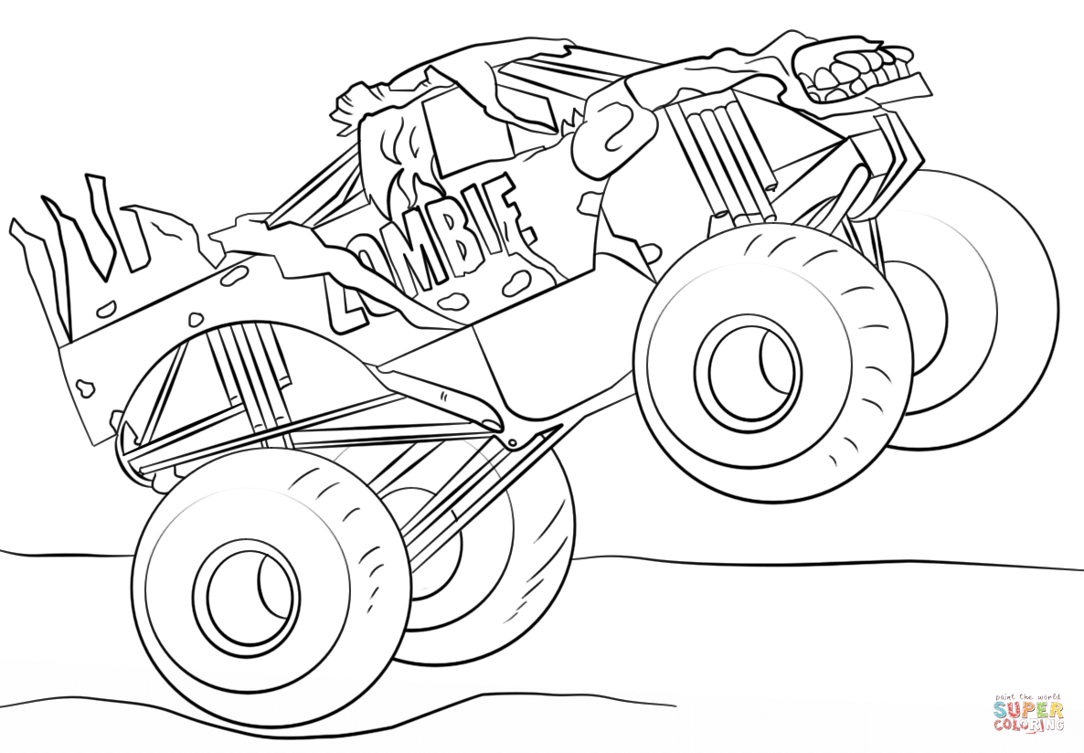 Coloring Pages Monster Trucks Zombie Monster Truck Coloring Page Free Printable Coloring Pages Birijus Com