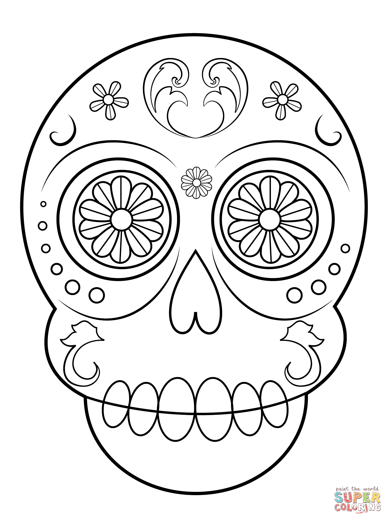 Sugar Skull coloring page | Free Printable Coloring Pages | 2046x1526
