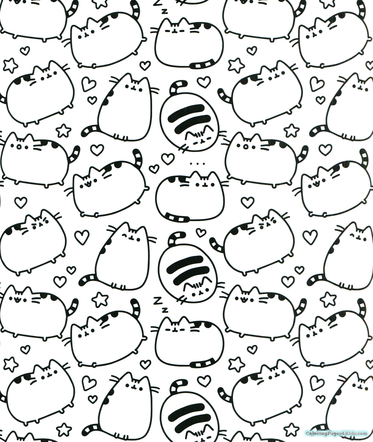 Pusheen Cat Coloring Pages Collection - Whitesbelfast | 1489x1258