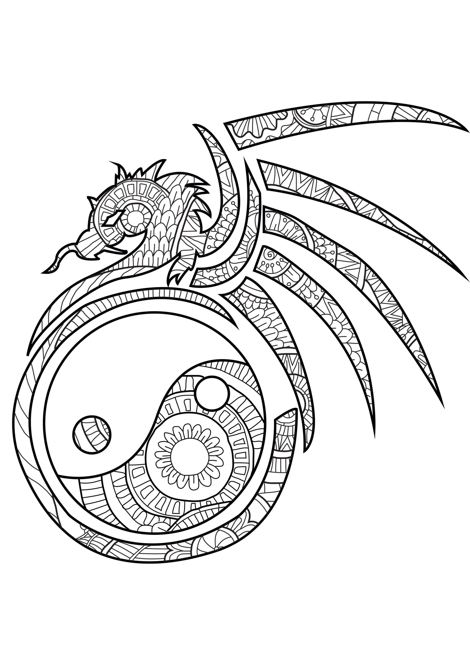 Dragon Coloring Pages For Adults The Spiritual Dragon Dragons Adult Coloring  Pages - birijus.com