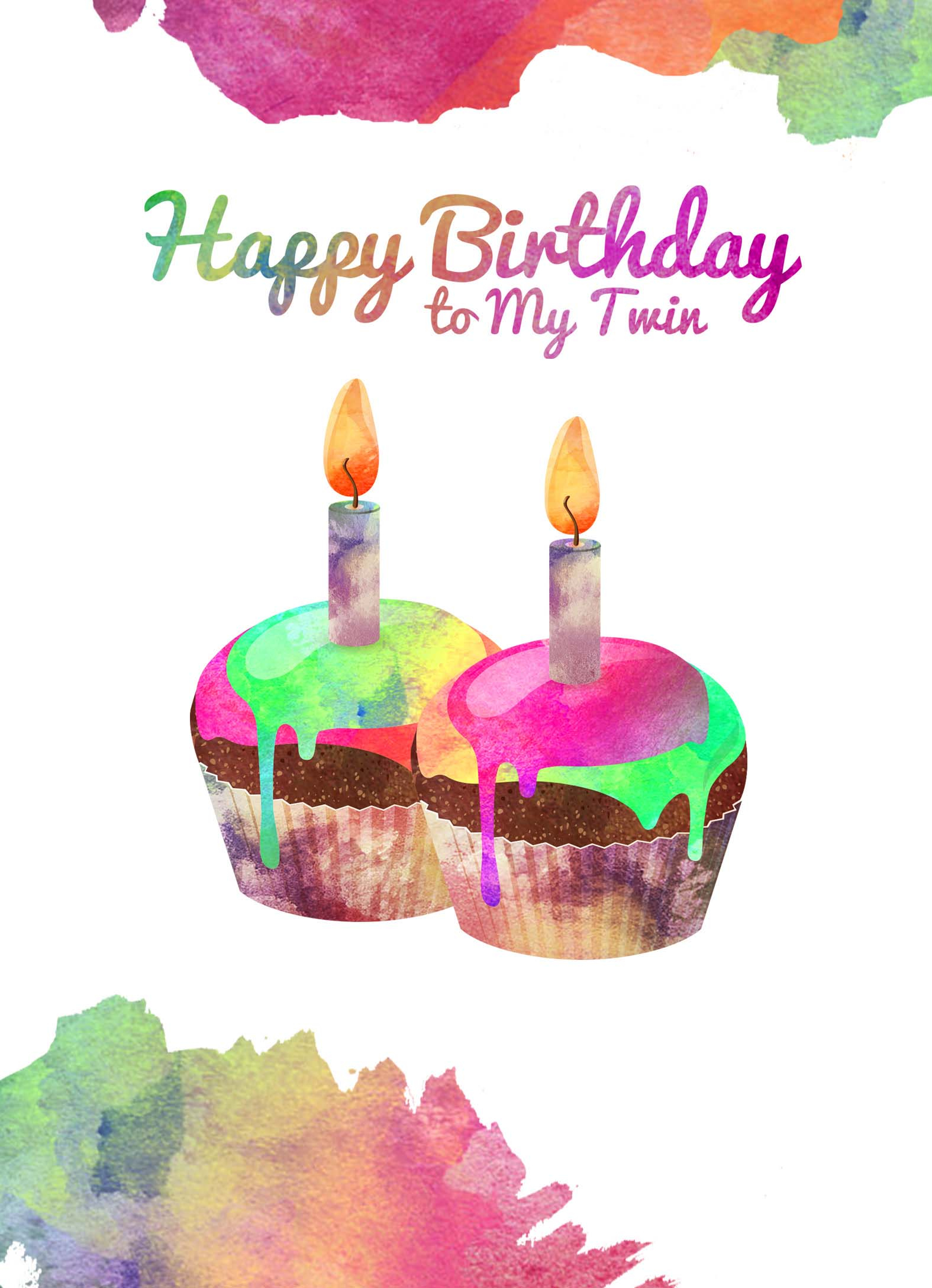 Happy Birthday Twins Cake To My Twin Heaven Sent Greeting Cards