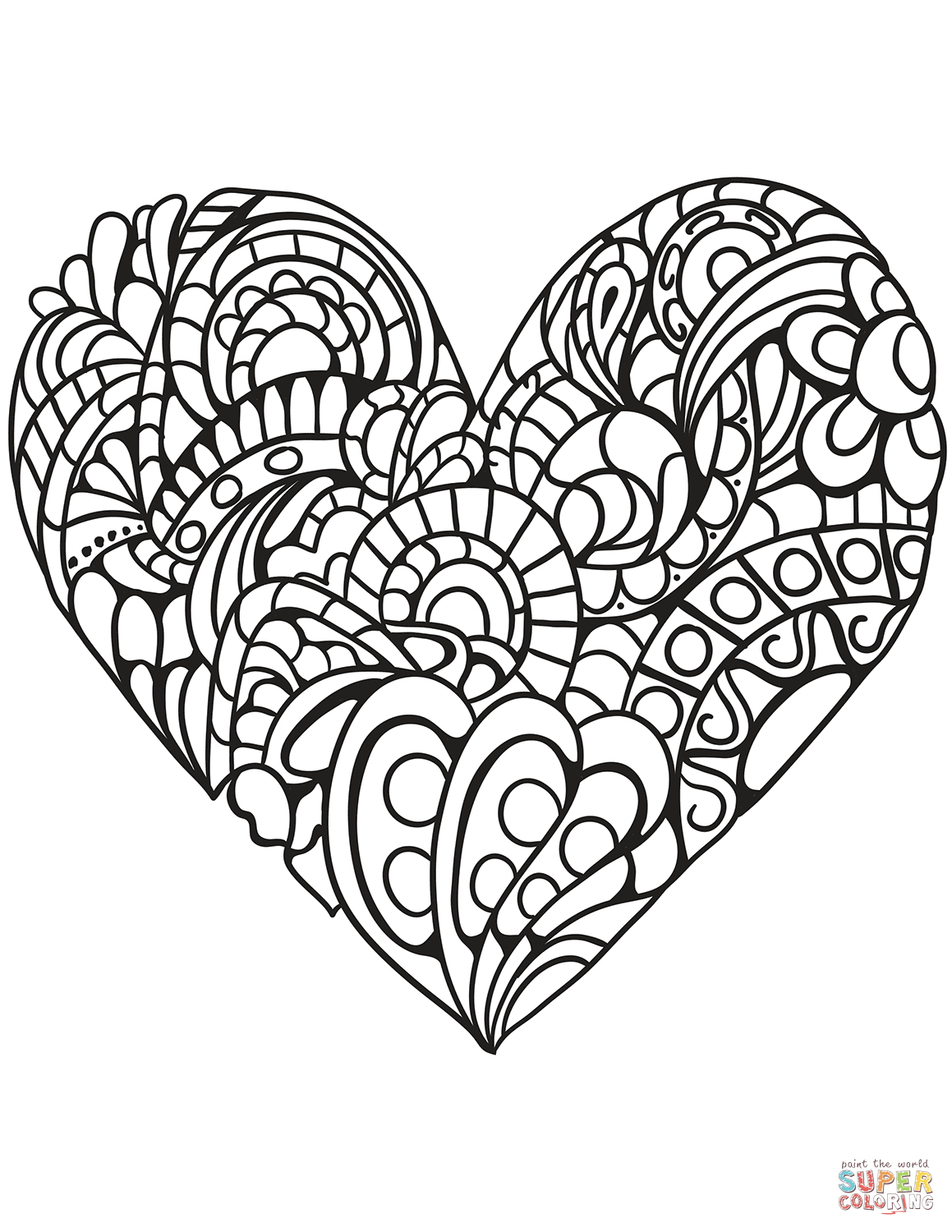 Heart Coloring Pages For Adults Coloring Page Doily Heart