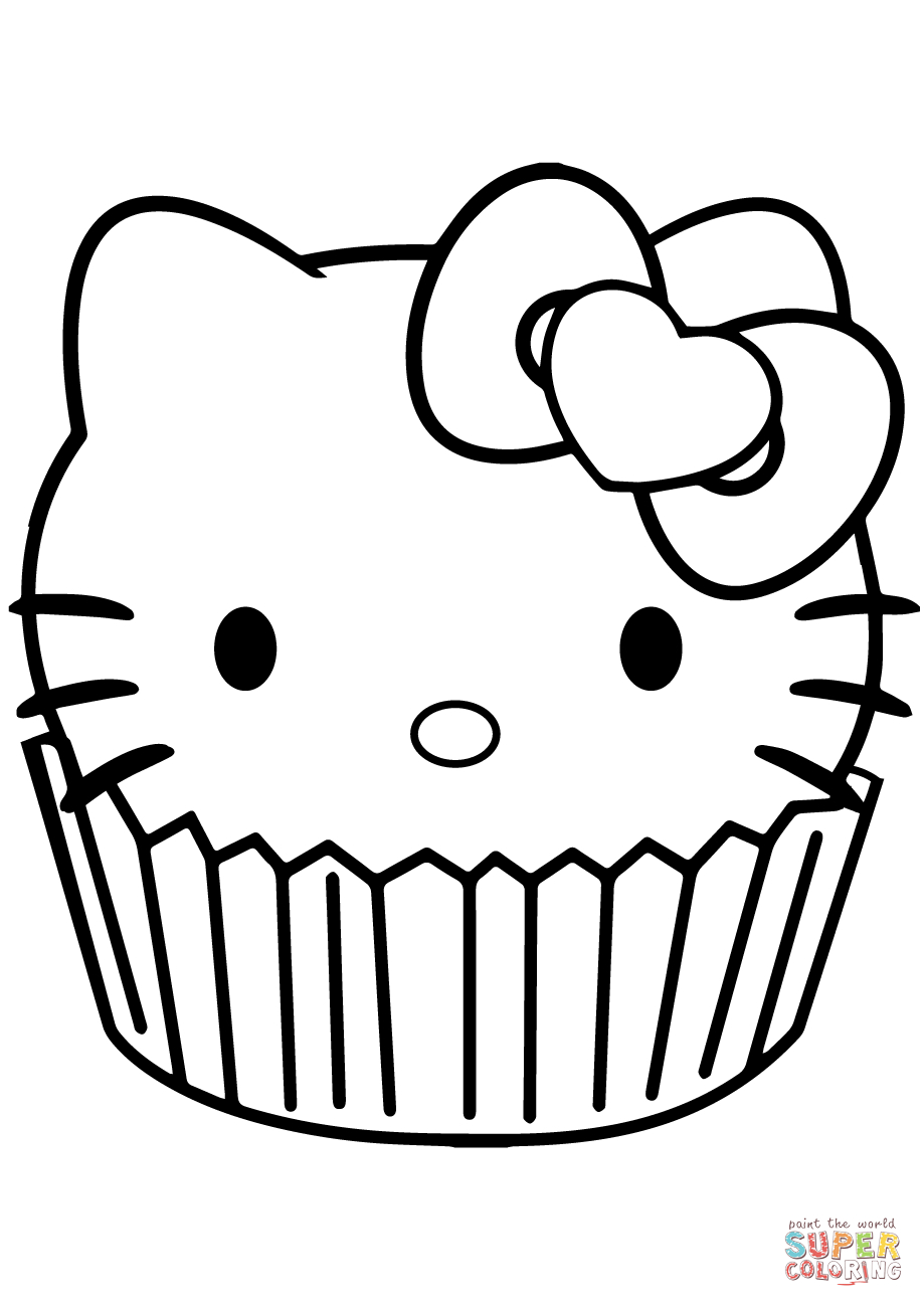 Hello Kitty Coloring Pages Hello Kitty Cupcake Coloring Page Free