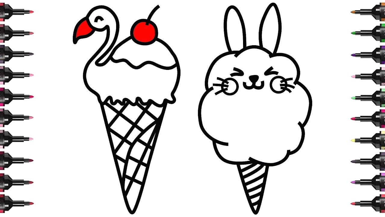 Ice Cream Coloring Pages How To Draw And Color Cute Ice Cream ...