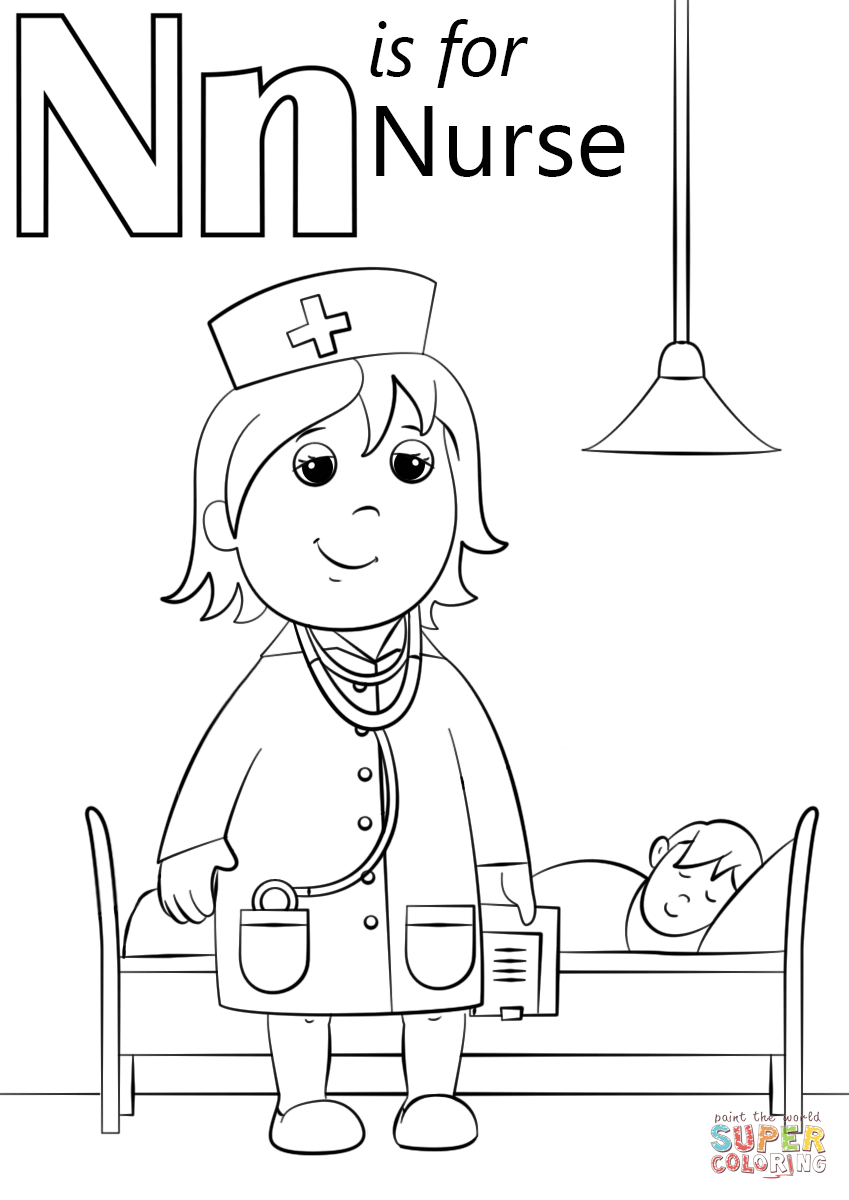 Letter N Coloring Page N Is For Nurse Coloring Page Free