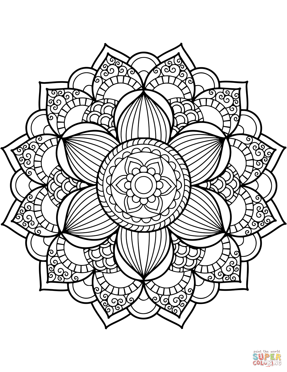 Lotus Flower Mandala Coloring Pages | Forcoloringpages.com ... | 1500x1159