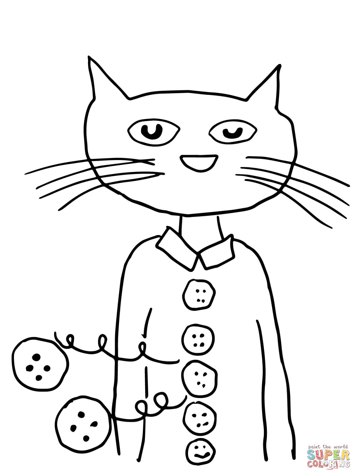 Pete The Cat Coloring Page Pete The Cat Groovy Buttons Coloring Page