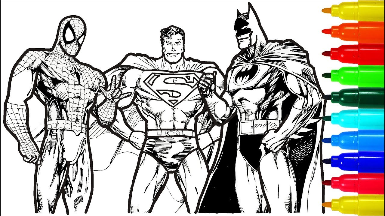 Batman Coloring Page Spiderman Superman Batman Coloring ...